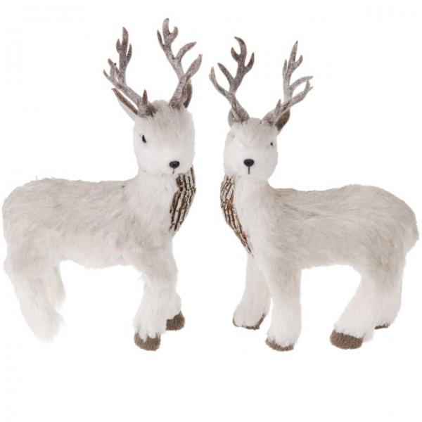 2er set hirsch 26 cm stehend dekoration weihnachten figur for Rentier dekoration
