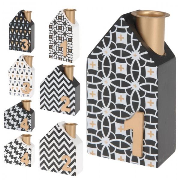 kerzenhalter haus 4er set adventskranz 2 fach sort wei und schwarz weihnachten feste und. Black Bedroom Furniture Sets. Home Design Ideas