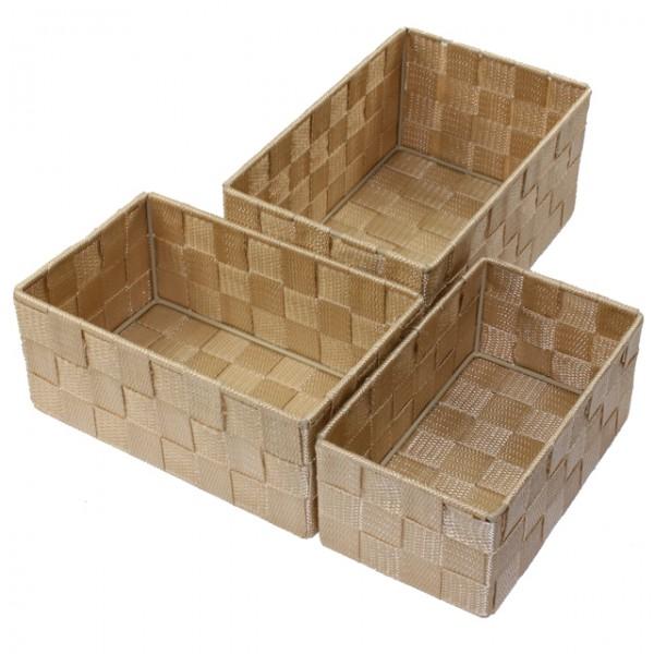 aufbewahrungsbox 3er set geflochten rechteckig badezimmer box korb 4 farben ebay. Black Bedroom Furniture Sets. Home Design Ideas