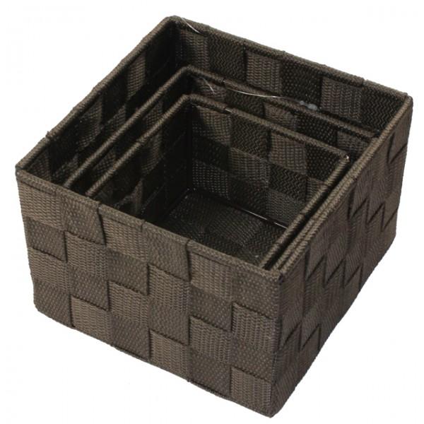 aufbewahrungsbox 3er set quadratisch geflochten korb box badezimmer kiste regal m bel wohnen. Black Bedroom Furniture Sets. Home Design Ideas