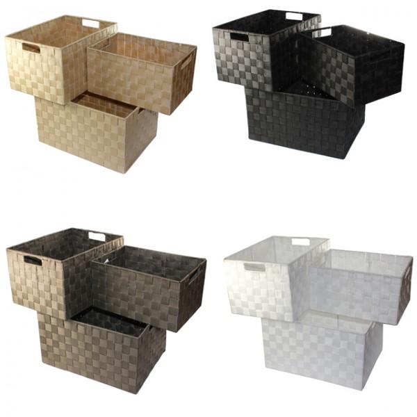 XXL Aufbewahrungsbox 3er Set Badezimmer Kiste Korb Geflochten Kiste  Kosmetik Box