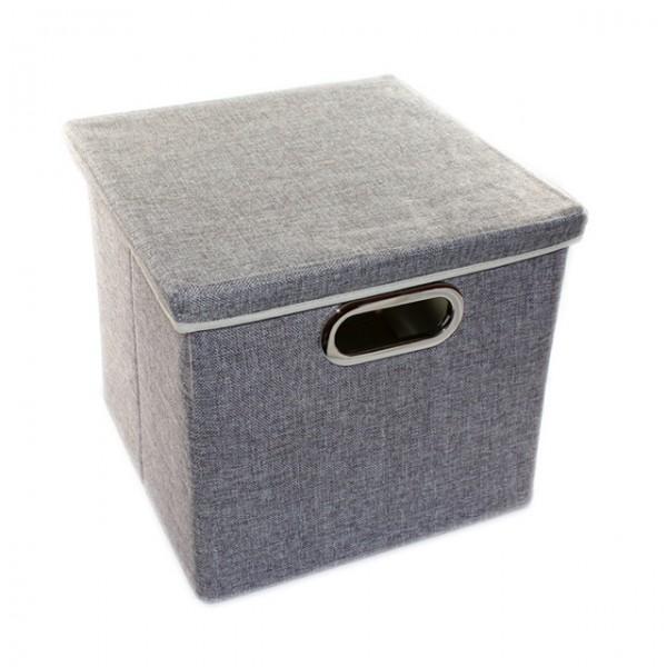 aufbewahrungsbox mit deckel 27x28x30 cm schwarz grau beige. Black Bedroom Furniture Sets. Home Design Ideas