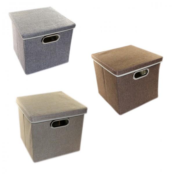 aufbewahrungsbox mit deckel 27x28x30 cm schwarz grau beige kiste box korb m bel wohnen und. Black Bedroom Furniture Sets. Home Design Ideas