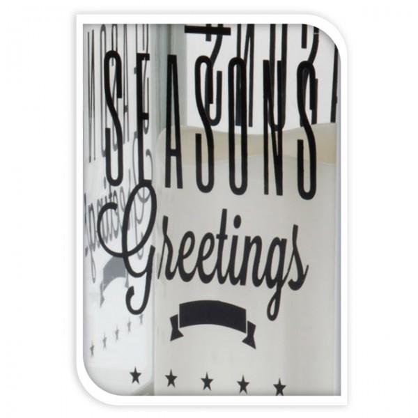 led laterne mit kerze wei schwarz spruch text 28cm weihnachten christmas deko ebay. Black Bedroom Furniture Sets. Home Design Ideas