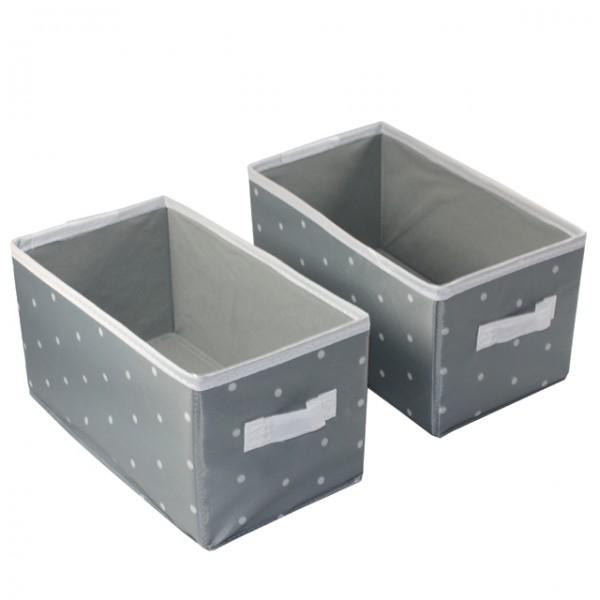 2er set aufbewahrungsbox mit griff grau mit punkten braun ca 14x26x13 5 kiste m bel wohnen. Black Bedroom Furniture Sets. Home Design Ideas
