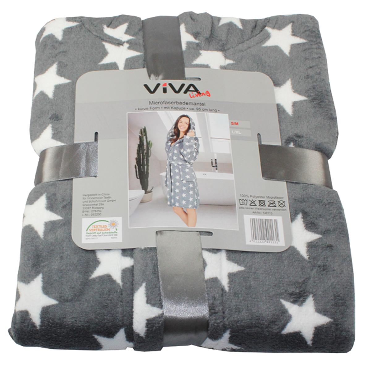 damen microfaser bademantel kurze form sterne s m l xl mit kapuze mantel sauna m bel wohnen. Black Bedroom Furniture Sets. Home Design Ideas