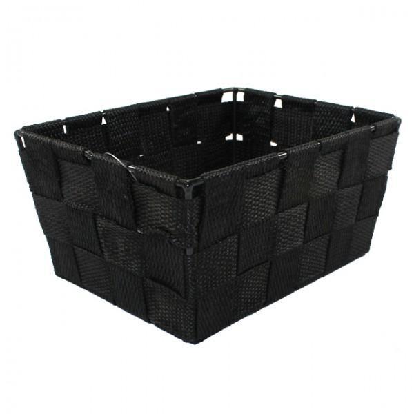 aufbewahrungsbox 18 5x14x9 uni geflochten schwarz wei. Black Bedroom Furniture Sets. Home Design Ideas