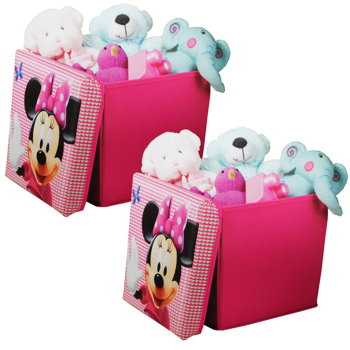 2er set disney minnie mouse canvas spielzeugkiste aufbewahrungsbox kinderzimmer m bel wohnen. Black Bedroom Furniture Sets. Home Design Ideas