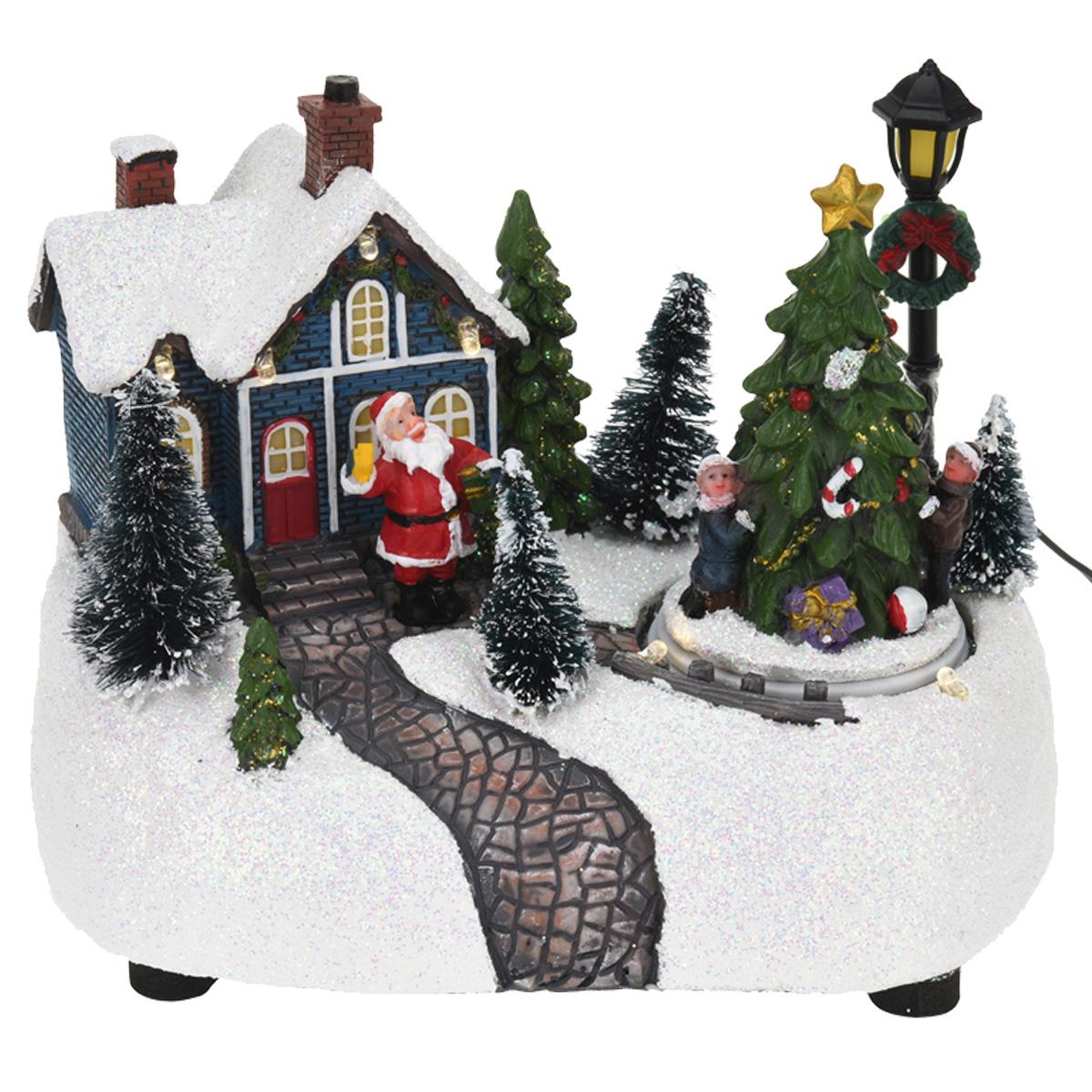 Weihnachtsszene LED Beleuchtung Frau Kind Weihnachtsmann Santa Claus ...