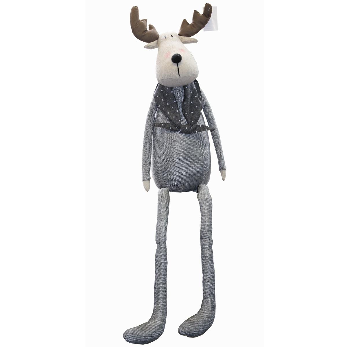 kantensitzer elch 70cm grau anthrazit weihnachten deko figur kantenhocker stoff feste und. Black Bedroom Furniture Sets. Home Design Ideas