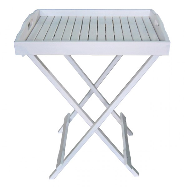 tablettständer milton weiß lackiert eukalyptus tabletttisch, Moderne
