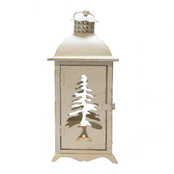 Laterne Natale Metall Creme Tannenbaum Weihnachten