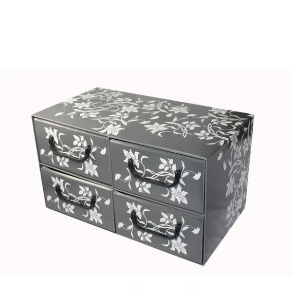 aufbewahrungsbox mit schubladen 4 schubladen blumen design aufbewahrungskiste karton m bel. Black Bedroom Furniture Sets. Home Design Ideas