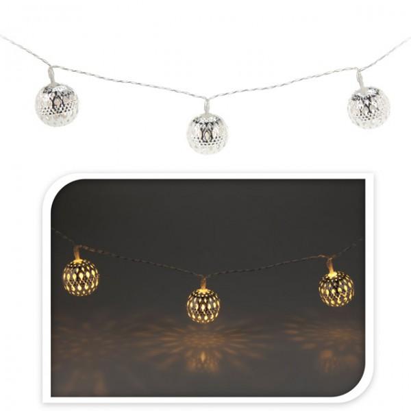 led batterie lichterkette mit kugeln wei silber gold metallkugeln weihnachten beleuchtung. Black Bedroom Furniture Sets. Home Design Ideas