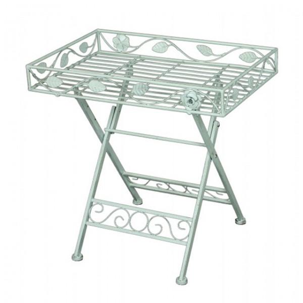 Deko Tisch mit Einfassung RECHTECKIG Metall weiß lackiert Eisen ...