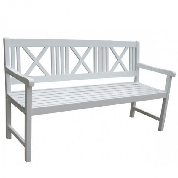 3 sitzer gartenbank malm wei sitzbank 154cm gartenm bel holz holzbank parkbank bank haus und. Black Bedroom Furniture Sets. Home Design Ideas