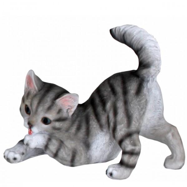 Deko tierfiguren k tzchen katzen babys figur grau for Gartendekoration tiere